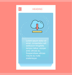 cloud downloading mobile vertical banner design vector image