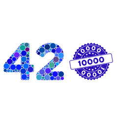 Collage 42 digits text icon with grunge 10000 seal vector