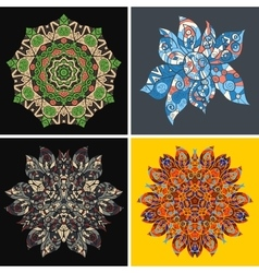 Collection of symmetric ethnic ornaments vector image