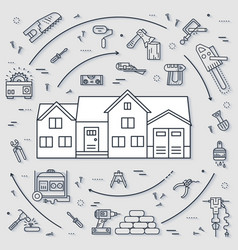 Collection of working tools icons items design vector