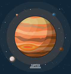 Colorful poster of the planet jupiter in the space vector
