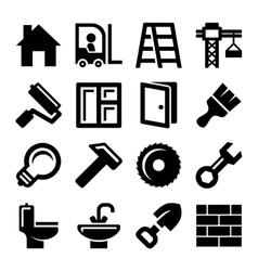 Construction Icons Set on White Background vector