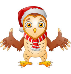 cute cartoon owl in a santa hat vector image