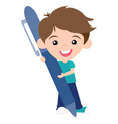 cute pen pal boy with pen vector image