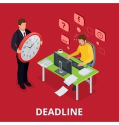 Deadline Concept of overworked man Flat 3d vector