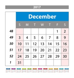 Desk Calendar for 2017 Year December Design Print vector image