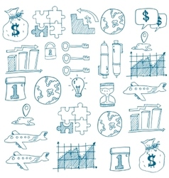 Doodle of business set on white backgrounds vector