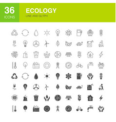 Ecology line web glyph icons vector