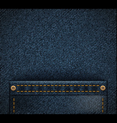 Empty pocket on denim texture fabric background vector