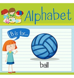 Flashcard letter B is for ball vector