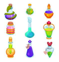 flat set of different small bottles with vector image