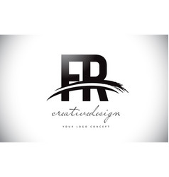Fr f r letter logo design with swoosh and black vector