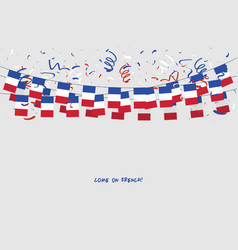france garland flag with confetti vector image