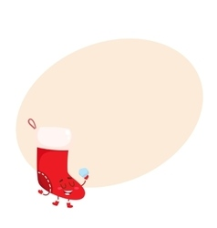 Funny Christmas boot stocking character vector