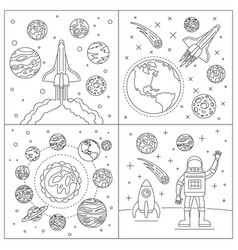 galaxy planets banner set outline style vector image