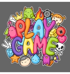 Game kawaii print cute gaming design elements vector