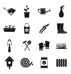 Gardening icons set simple style vector image