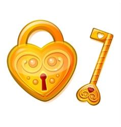 Golden lock in shape heart vector
