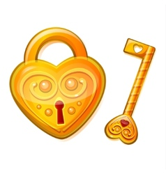 Golden lock in the shape of heart vector image