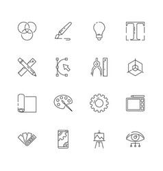 graphic tools icons web design programming vector image