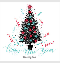 hand drawn christmas card new year tree with vector image