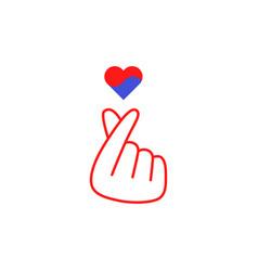 Hand gesture k-pop with heart in korean colors vector