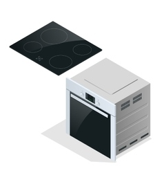 Hand holding a saucepan in modern kitchen vector