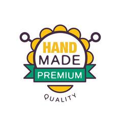 handmade premium quality logo template retro vector image