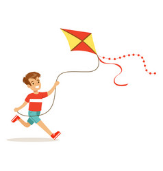 happy boy enjoying flying kite kids outdoor vector image