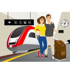 happy couple standing in the train station vector image