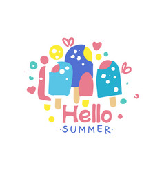 Hello summer logo design label for summer holiday vector