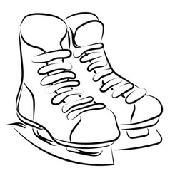 hockey skates drawing on white background vector image