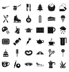 hot coffee icons set simple style vector image