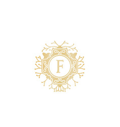 Initial f wedding boutique logo designs vector