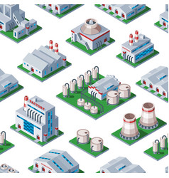 isometric factory building seamless pattern vector image