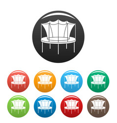Kid trampoline icons set color vector