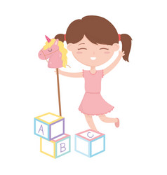 Kids zone cute little girl with horse and abc vector