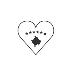 kosovo flag icon in a heart shape in black vector image