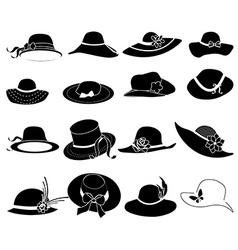 ladies hats icons set vector image