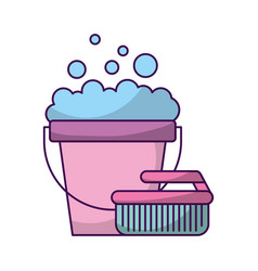 Laundry bucket with brush vector