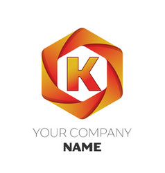 Letter k logo symbol on colorful hexagonal vector