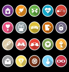 Love and heart icons with long shadow vector