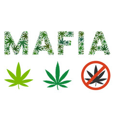 Mafia label composition of weed leaves vector