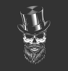Male skull in gentleman cylinder hat vector
