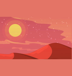 Mars planet futuristic landscape with mountains in vector