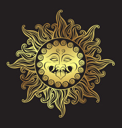Medusa gorgon golden head in flame hand drawn vector