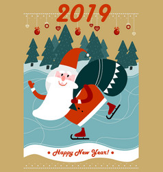 merry christmas and new year 2019 greeting card vector image