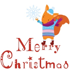 Merry Christmas squirrel background vector image