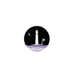 midnight scene lighthouse sign symbol vector image