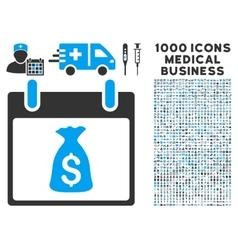 Money Bag Calendar Day Icon With 1000 Medical vector